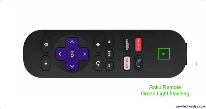 Roku Remote green light flashing