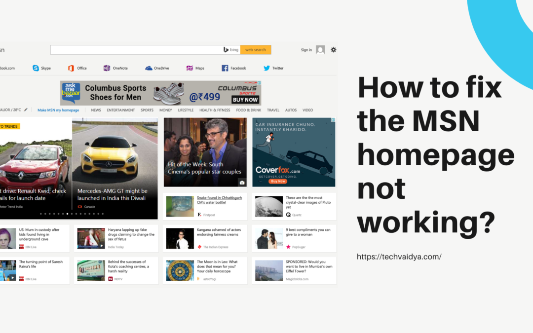 How to fix the MSN homepage not working?