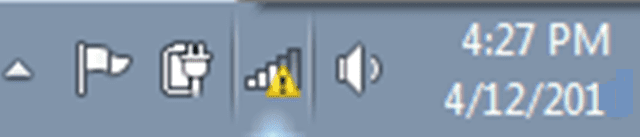 exclamation mark on network